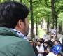 Anti-Israel demonstranten zwaaien met Hezbollah-vlag in Den Haag